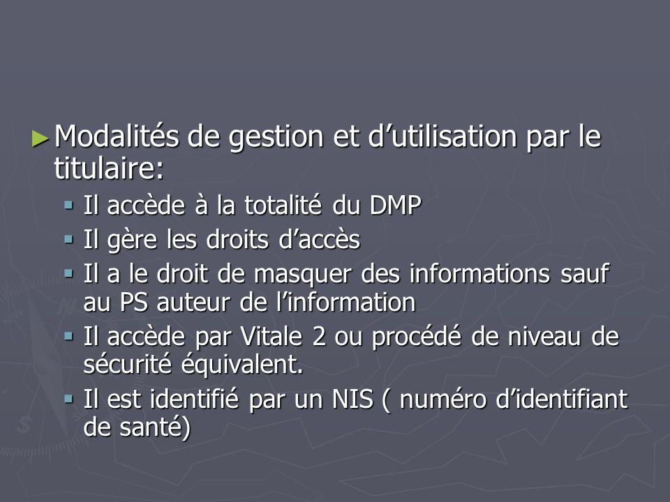 Modalités de gestion et dutilisation par le titulaire: Modalités de gestion et dutilisation par le titulaire: Il accède à la totalité du DMP Il accède