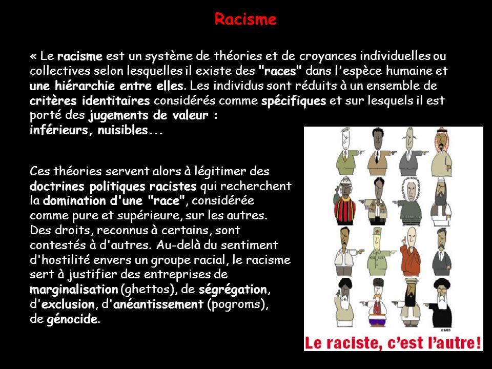 Racisme « Le racisme est un système de théories et de croyances individuelles ou collectives selon lesquelles il existe des