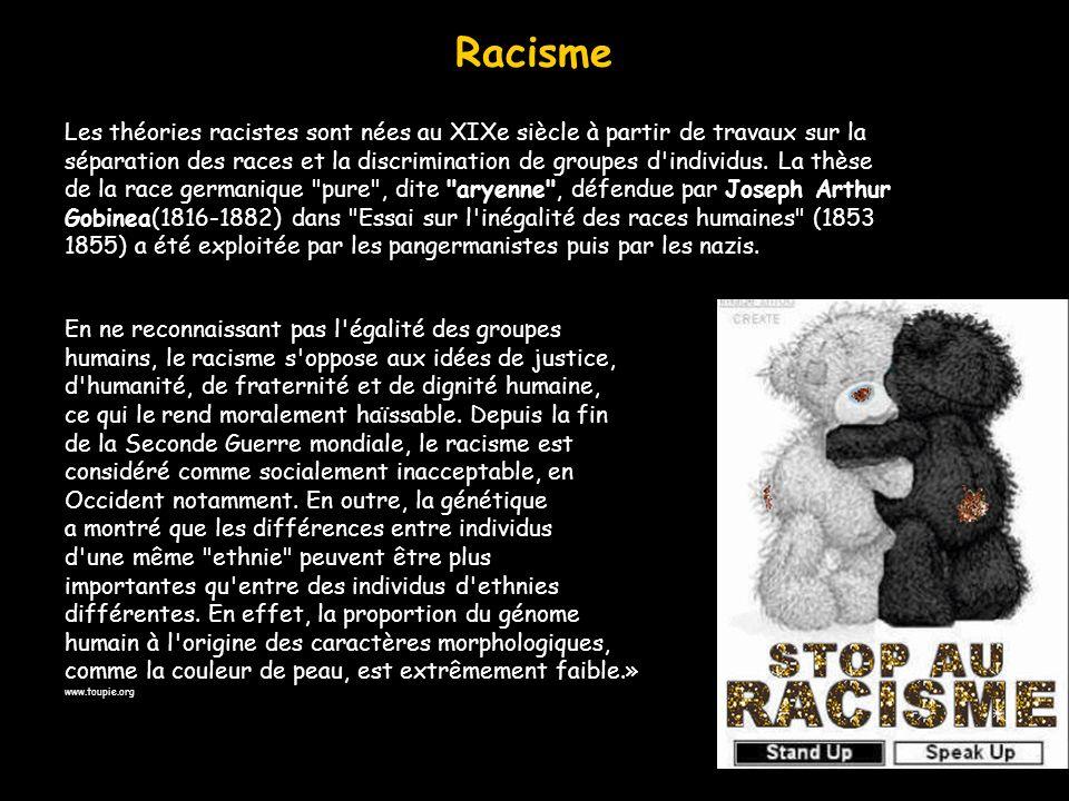 Racisme Les théories racistes sont nées au XIXe siècle à partir de travaux sur la séparation des races et la discrimination de groupes d'individus. La