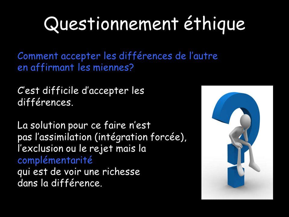 Questionnement éthique Comment accepter les différences de lautre en affirmant les miennes? Cest difficile daccepter les différences. La solution pour
