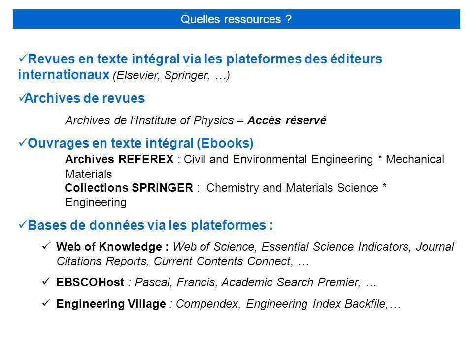 Revues en texte intégral via les plateformes des éditeurs internationaux (Elsevier, Springer, …) Archives de revues Archives de lInstitute of Physics