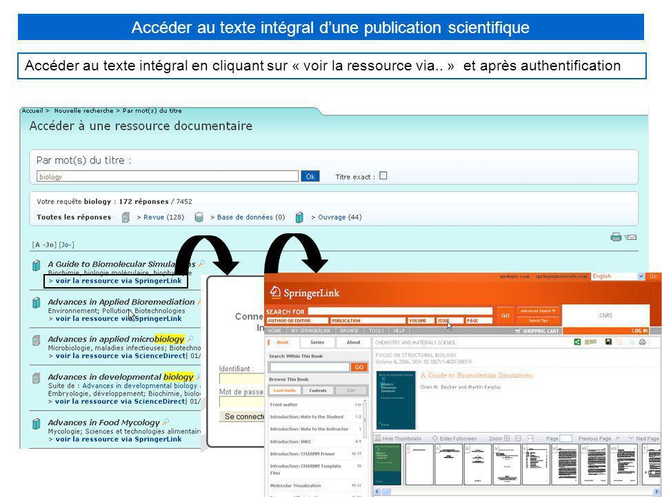 Accéder au texte intégral dune publication scientifique Accéder au texte intégral en cliquant sur « voir la ressource via.. » et après authentificatio