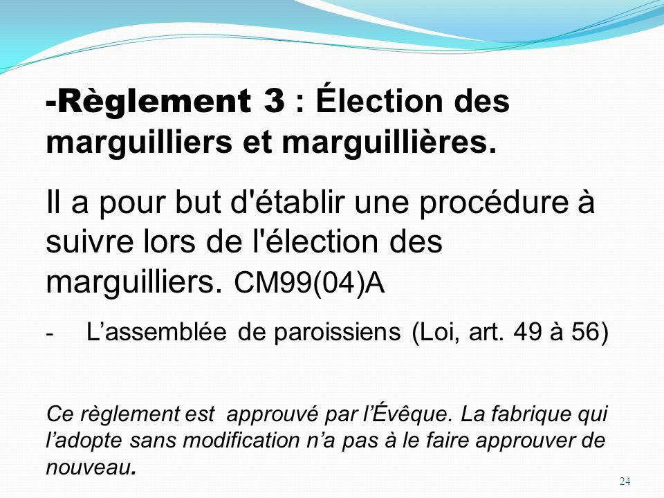 24 -Règlement 3 : Élection des marguilliers et marguillières. Il a pour but d'établir une procédure à suivre lors de l'élection des marguilliers. CM99