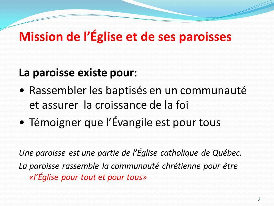 3 Mission de lÉglise et de ses paroisses La paroisse existe pour: Rassembler les baptisés en un communauté et assurer la croissance de la foi Témoigne