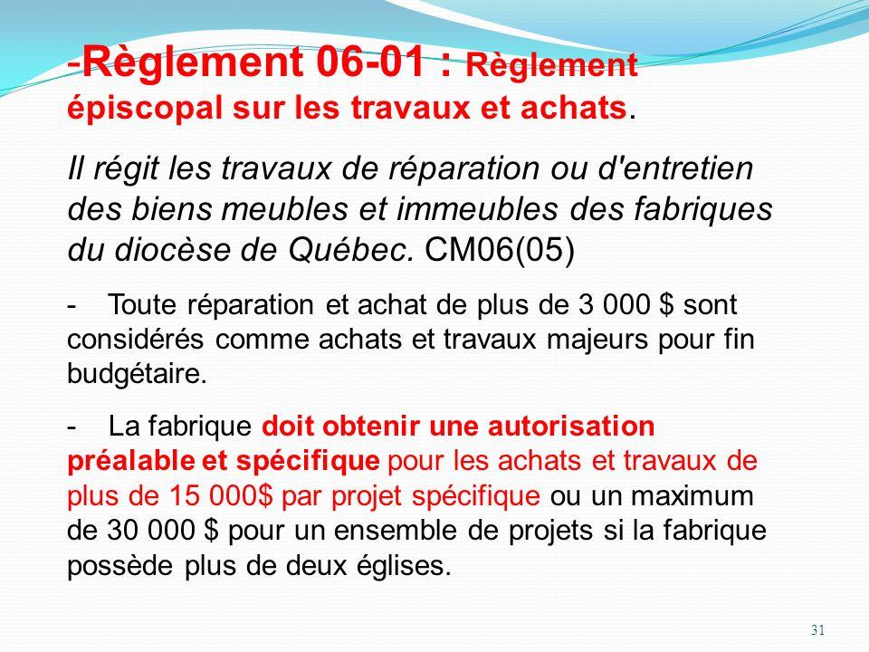 31 -Règlement 06-01 : Règlement épiscopal sur les travaux et achats. Il régit les travaux de réparation ou d'entretien des biens meubles et immeubles