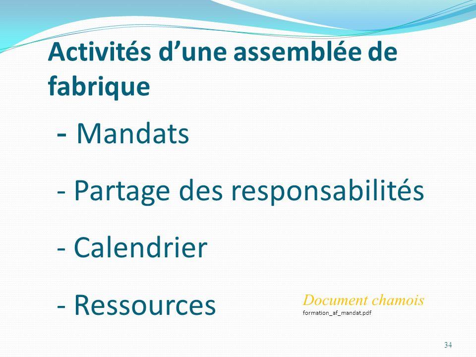 Activités dune assemblée de fabrique 34 - Mandats - Partage des responsabilités - Calendrier - Ressources Document chamois formation_af_mandat.pdf