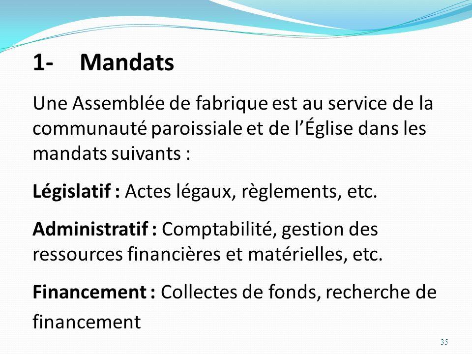 35 1-Mandats Une Assemblée de fabrique est au service de la communauté paroissiale et de lÉglise dans les mandats suivants : Législatif : Actes légaux