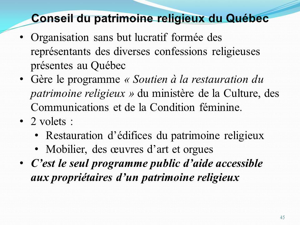 Organisation sans but lucratif formée des représentants des diverses confessions religieuses présentes au Québec Gère le programme « Soutien à la rest