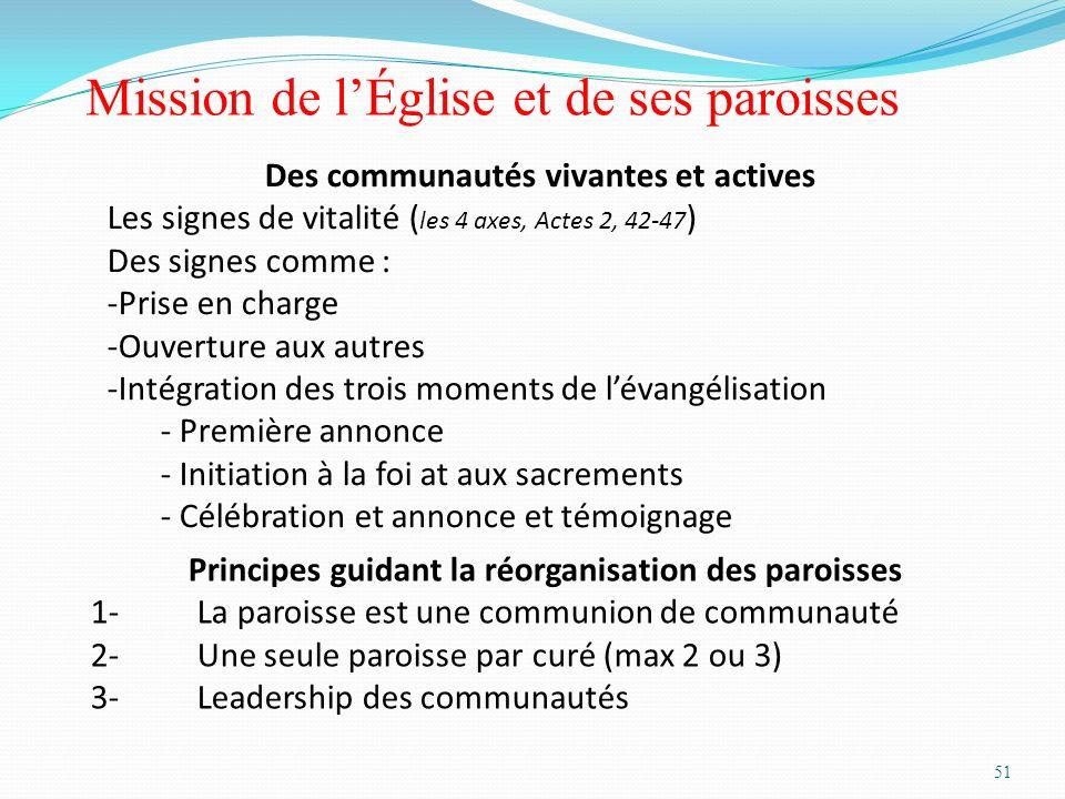 51 Mission de lÉglise et de ses paroisses Principes guidant la réorganisation des paroisses 1-La paroisse est une communion de communauté 2-Une seule
