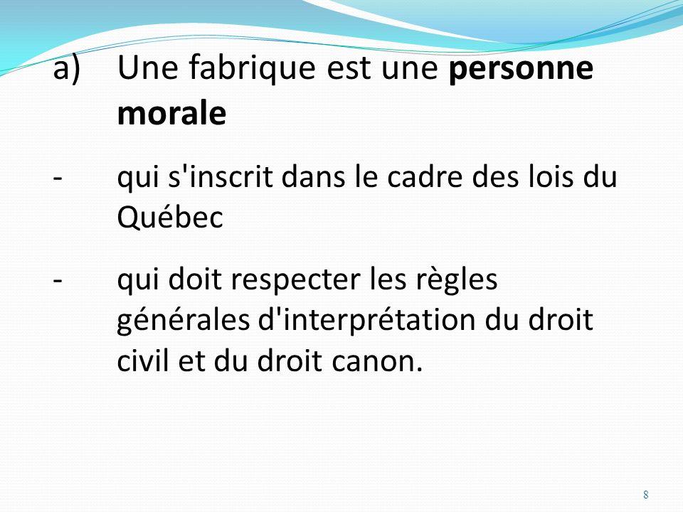 8 a)Une fabrique est une personne morale -qui s'inscrit dans le cadre des lois du Québec -qui doit respecter les règles générales d'interprétation du