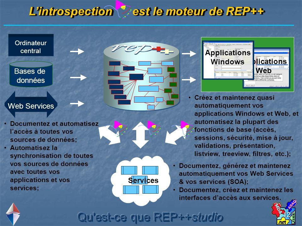 12 Ordinateur central Lintrospection est le moteur de REP++ Bases de données INDEX TABLES CHAMPS CHOIX Web Services Applications Web Applications Wind