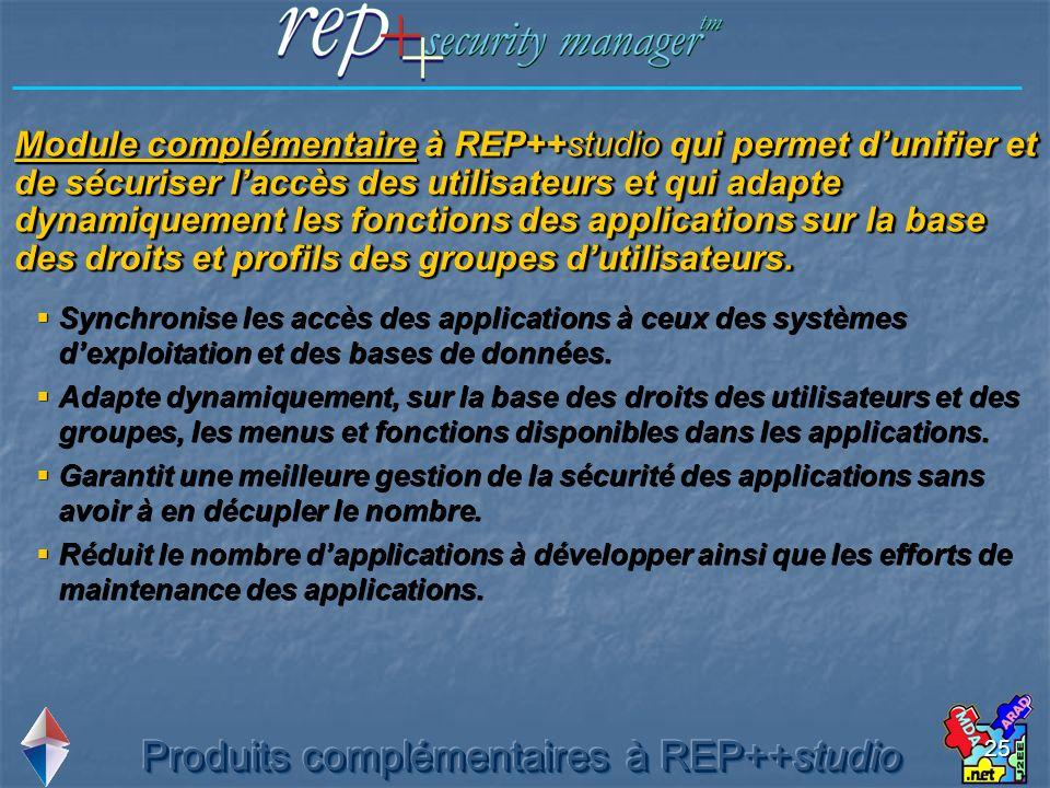 25 Module complémentaire à REP++studio qui permet dunifier et de sécuriser laccès des utilisateurs et qui adapte dynamiquement les fonctions des appli