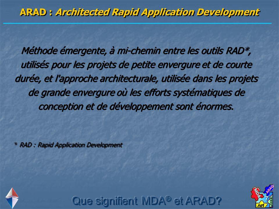 7 ARAD : Architected Rapid Application Development Méthode émergente, à mi-chemin entre les outils RAD*, utilisés pour les projets de petite envergure