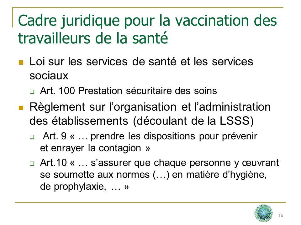 Cadre juridique pour la vaccination des travailleurs de la santé Loi sur les services de santé et les services sociaux Art. 100 Prestation sécuritaire