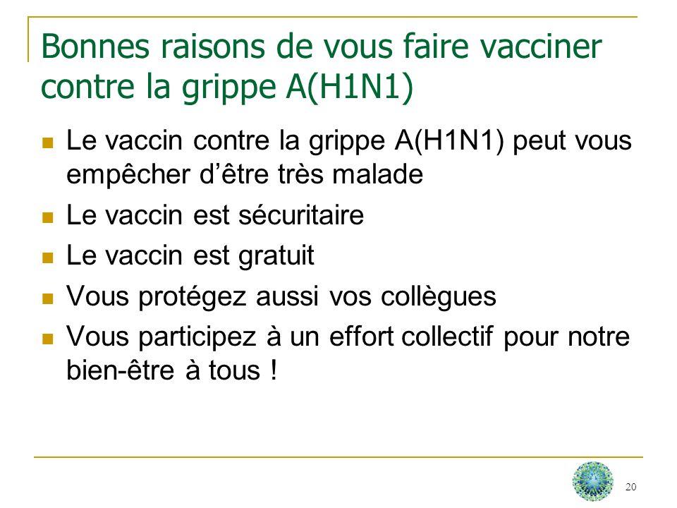 Bonnes raisons de vous faire vacciner contre la grippe A(H1N1) Le vaccin contre la grippe A(H1N1) peut vous empêcher dêtre très malade Le vaccin est s