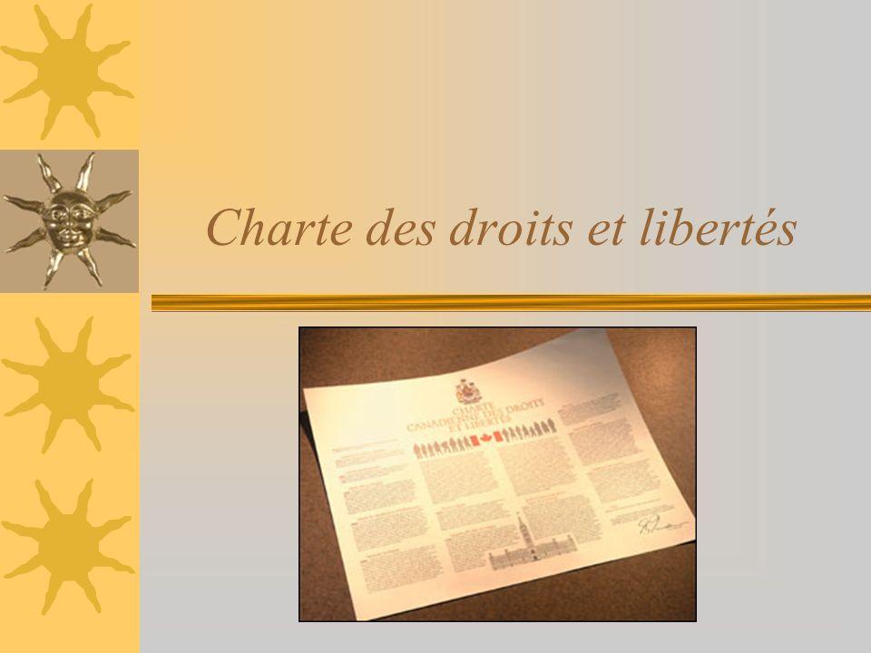 Résultat dapprentissage spécifique Tu dois pouvoir expliquer limportance de la Charte des droits et libertés.