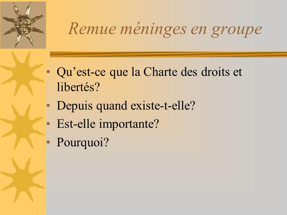 Remue méninges en groupe Quest-ce que la Charte des droits et libertés? Depuis quand existe-t-elle? Est-elle importante? Pourquoi?