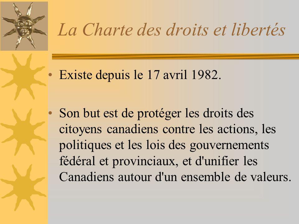 La Charte des droits et libertés Existe depuis le 17 avril 1982. Son but est de protéger les droits des citoyens canadiens contre les actions, les pol