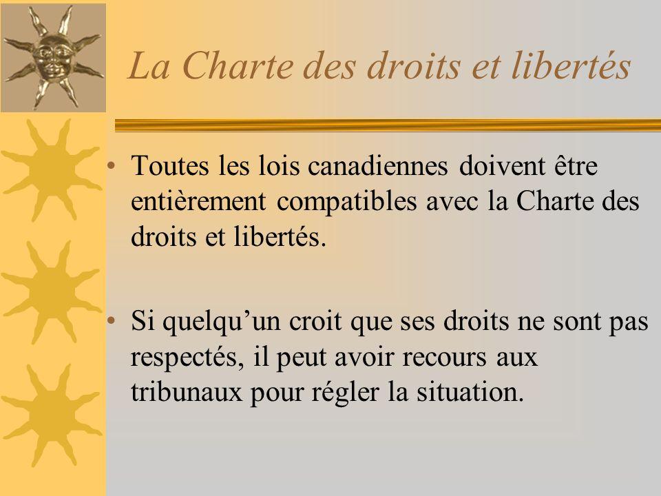 Toutes les lois canadiennes doivent être entièrement compatibles avec la Charte des droits et libertés. Si quelquun croit que ses droits ne sont pas r