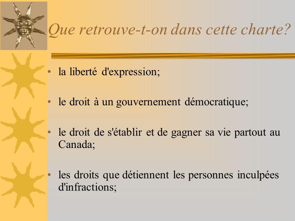 Que retrouve-t-on dans cette charte? la liberté d'expression; le droit à un gouvernement démocratique; le droit de s'établir et de gagner sa vie parto