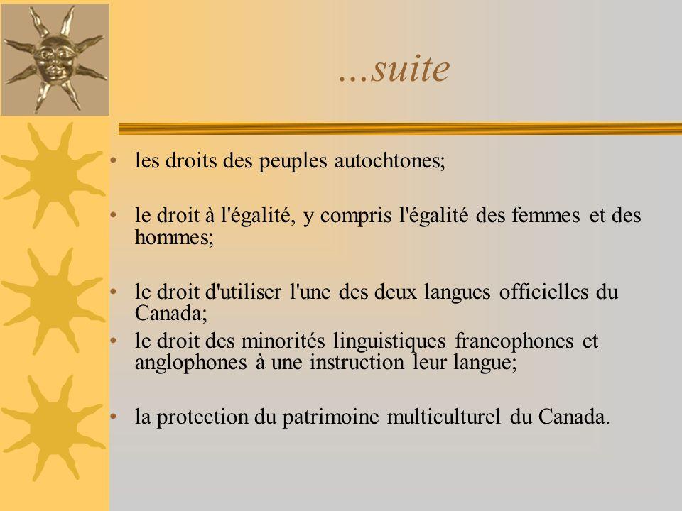 les droits des peuples autochtones; le droit à l'égalité, y compris l'égalité des femmes et des hommes; le droit d'utiliser l'une des deux langues off