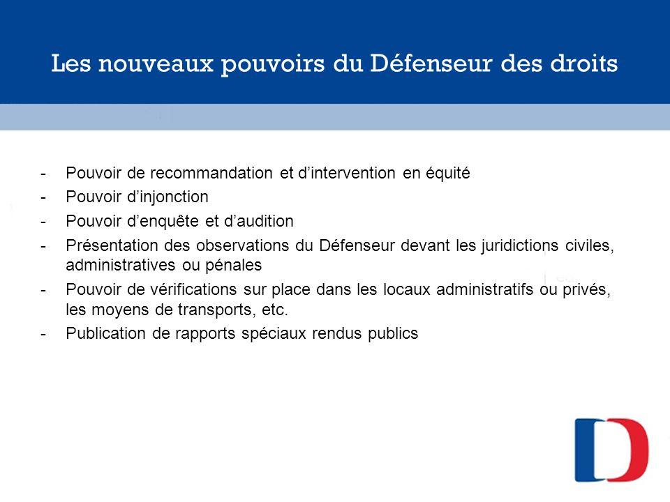 Les nouveaux pouvoirs du Défenseur des droits -Pouvoir de recommandation et dintervention en équité -Pouvoir dinjonction -Pouvoir denquête et dauditio
