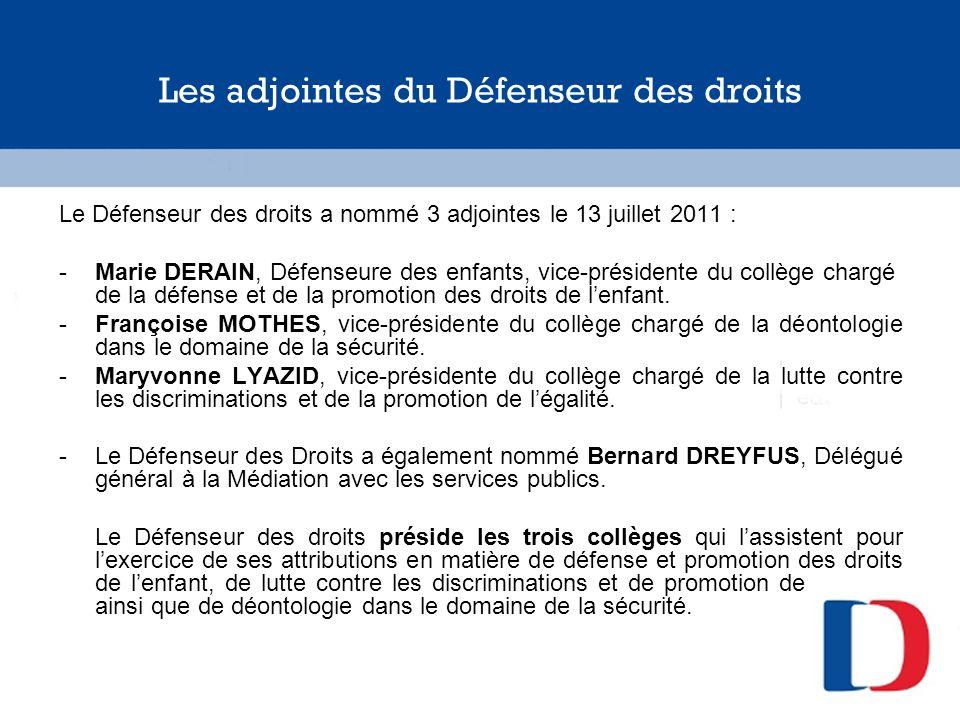 Les adjointes du Défenseur des droits Le Défenseur des droits a nommé 3 adjointes le 13 juillet 2011 : -Marie DERAIN, Défenseure des enfants, vice-pré