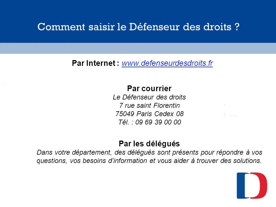 Comment saisir le Défenseur des droits ? Par Internet : www.defenseurdesdroits.fr Par courrier Le Défenseur des droits 7 rue saint Florentin 75049 Par