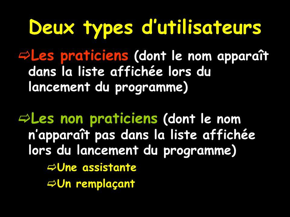 Deux types dutilisateurs Les praticiens (dont le nom apparaît dans la liste affichée lors du lancement du programme) Les non praticiens (dont le nom n