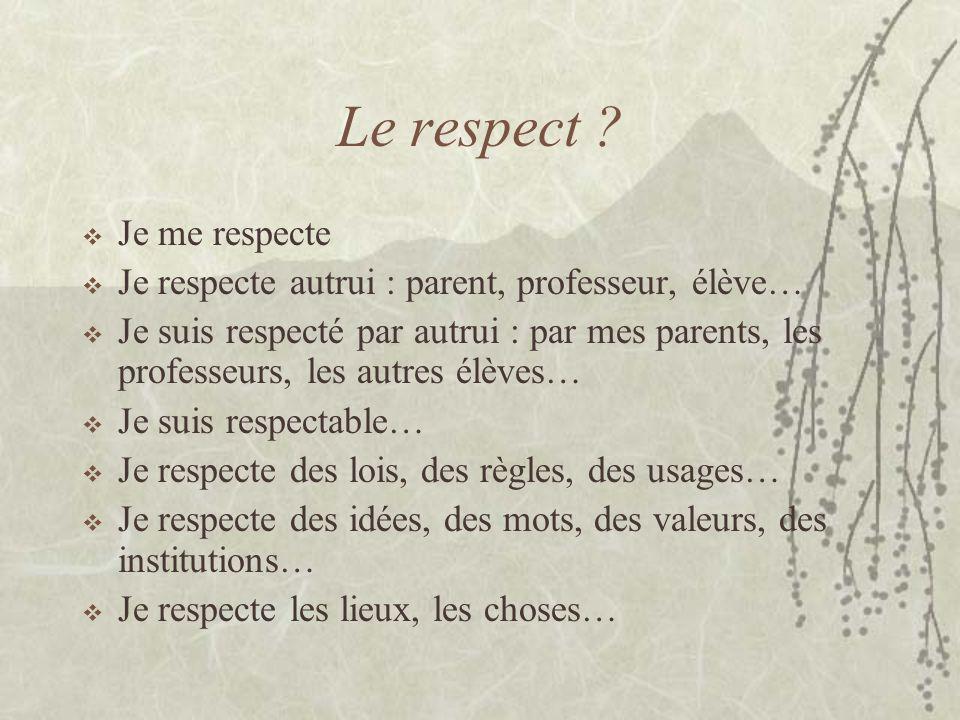 Le respect ? Je me respecte Je respecte autrui : parent, professeur, élève… Je suis respecté par autrui : par mes parents, les professeurs, les autres