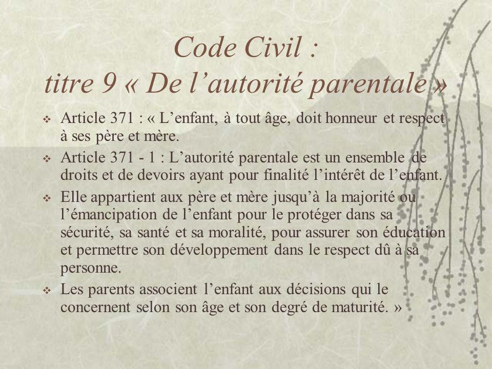 Code Civil : titre 9 « De lautorité parentale » Article 371 : « Lenfant, à tout âge, doit honneur et respect à ses père et mère. Article 371 - 1 : Lau