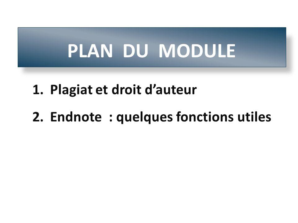 1.Plagiat et droit dauteur 2.Endnote : quelques fonctions utiles PLAN DU MODULE