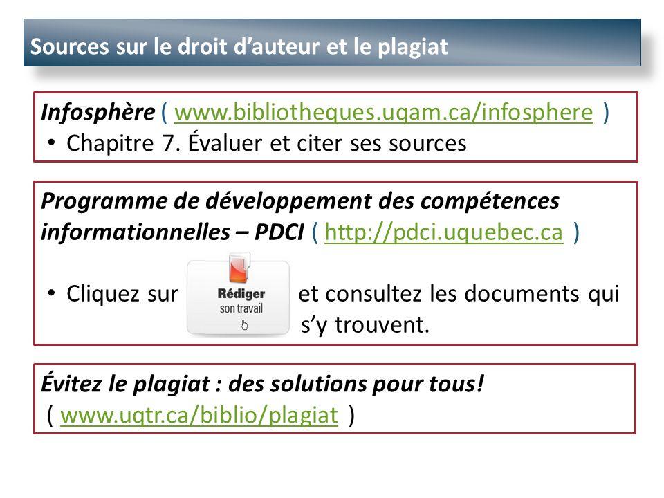 Sources sur le droit dauteur et le plagiat Évitez le plagiat : des solutions pour tous.