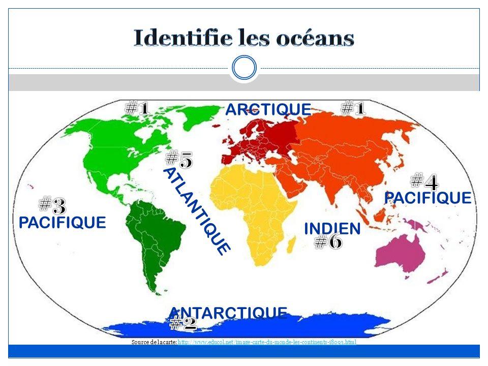 ARCTIQUE PACIFIQUE ATLANTIQUE ANTARCTIQUE INDIEN PACIFIQUE Source de la carte: http://www.educol.net/image-carte-du-monde-les-continents-i8093.htmlhtt