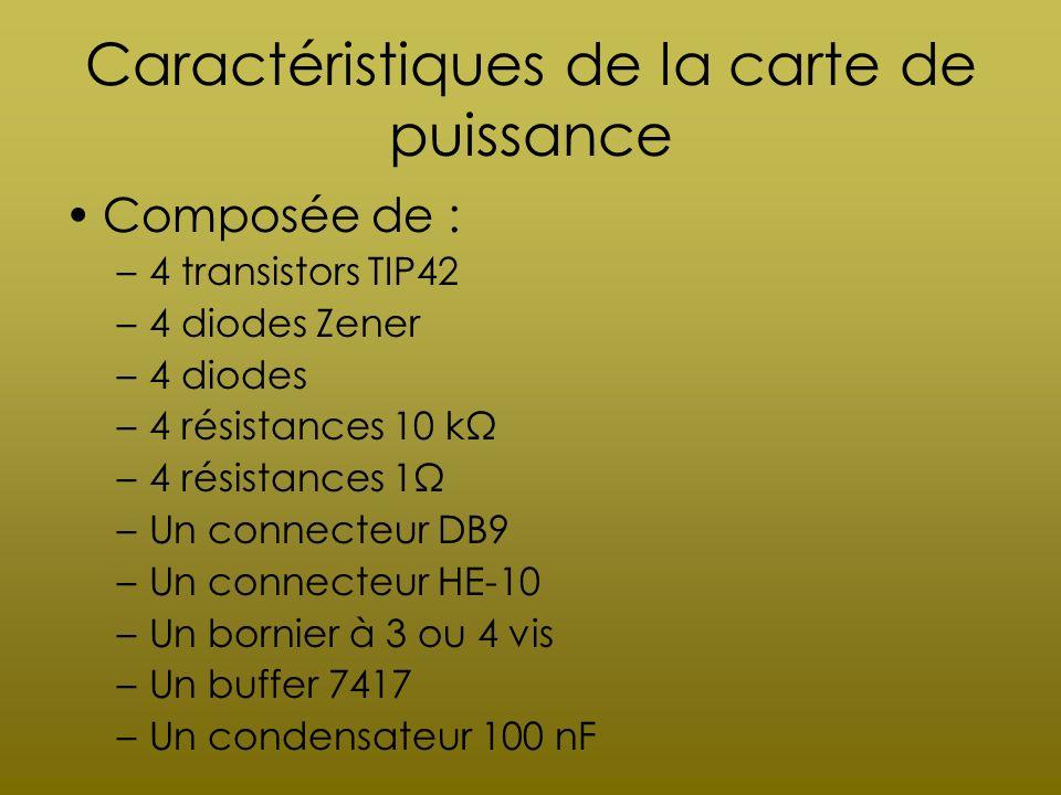 Caractéristiques de la carte de puissance Composée de : –4 transistors TIP42 –4 diodes Zener –4 diodes –4 résistances 10 kΩ –4 résistances 1Ω –Un conn