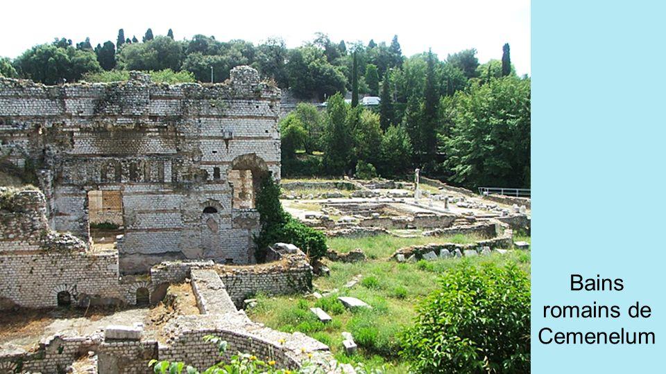 A partir de 13 avant Jésus-Christ, les romains construisent une seconde ville, CEMENELUM, voisine de NIKAIA, se situant sur la colline de Cimiez. Les