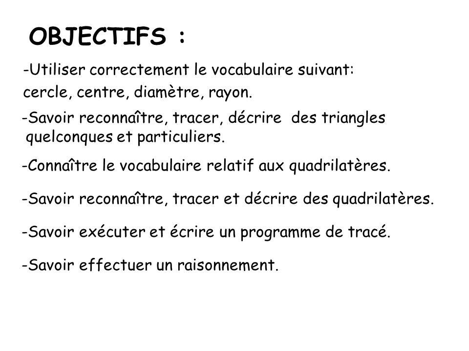 OBJECTIFS : -Utiliser correctement le vocabulaire suivant: cercle, centre, diamètre, rayon. -Savoir reconnaître, tracer, décrire des triangles quelcon