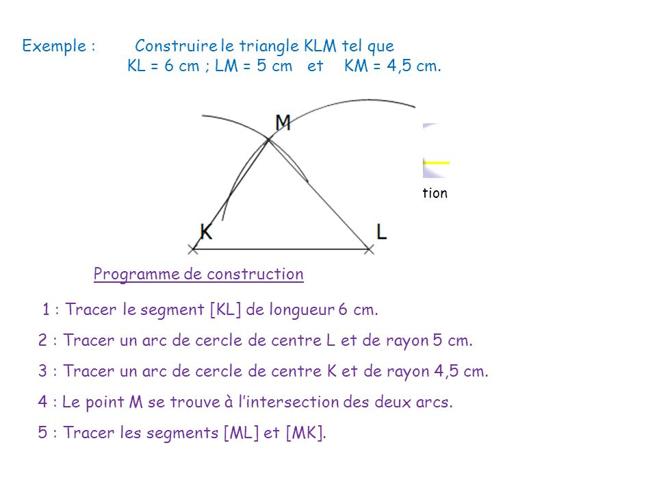 2) Triangles particuliers a) Triangle isocèle vient du grec : iso (égal) et skelos (jambes) Un triangle isocèle a deux côtés de même longueur.
