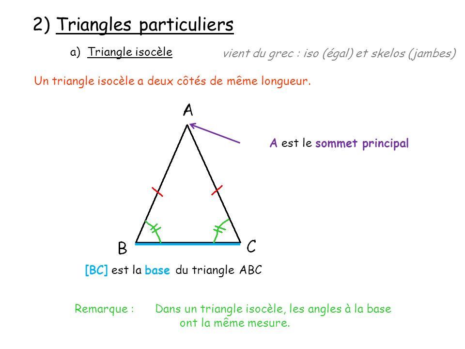Exemple : Construire le triangle ABC isocèle en A tel que BC = 5 cm et AB = 7 cm.