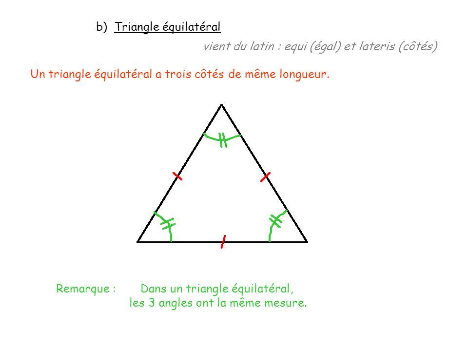 Exemple : Construire le triangle équilatéral ABC tel que AB = 7 cm.