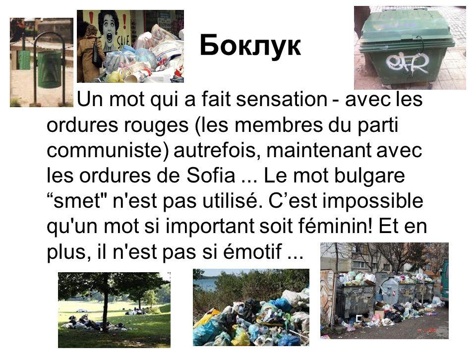 Боклук Un mot qui a fait sensation - avec les ordures rouges (les membres du parti communiste) autrefois, maintenant avec les ordures de Sofia...