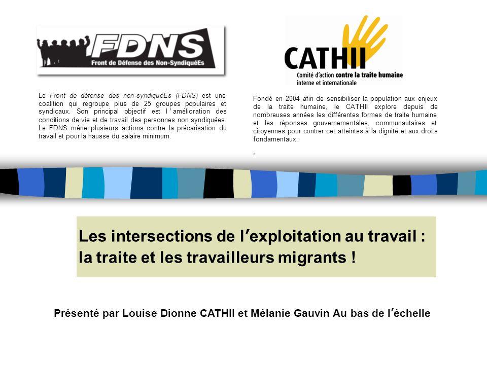 Les intersections de lexploitation au travail : la traite et les travailleurs migrants .