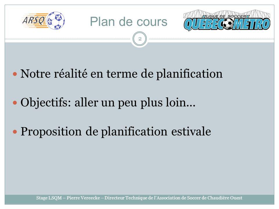 Plan de cours Notre réalité en terme de planification Objectifs: aller un peu plus loin... Proposition de planification estivale 2 Stage LSQM – Pierre