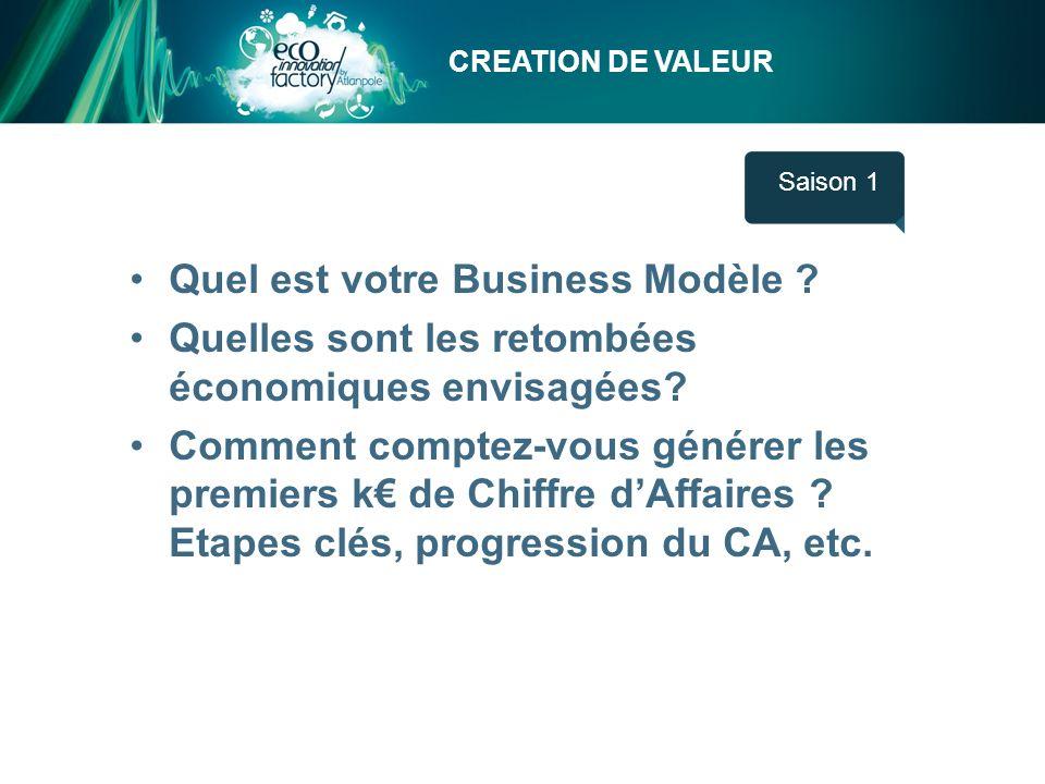 CREATION DE VALEUR Saison 1 Quel est votre Business Modèle ? Quelles sont les retombées économiques envisagées? Comment comptez-vous générer les premi