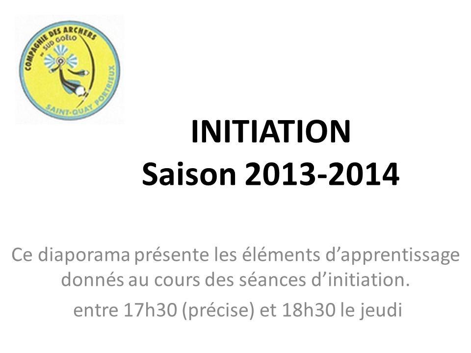 INITIATION Saison 2013-2014 Ce diaporama présente les éléments dapprentissage donnés au cours des séances dinitiation. entre 17h30 (précise) et 18h30