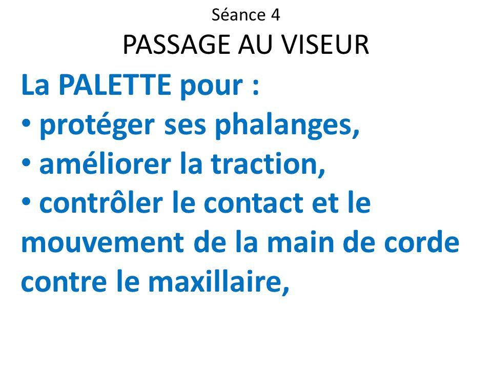 Séance 4 PASSAGE AU VISEUR La PALETTE pour : protéger ses phalanges, améliorer la traction, contrôler le contact et le mouvement de la main de corde c