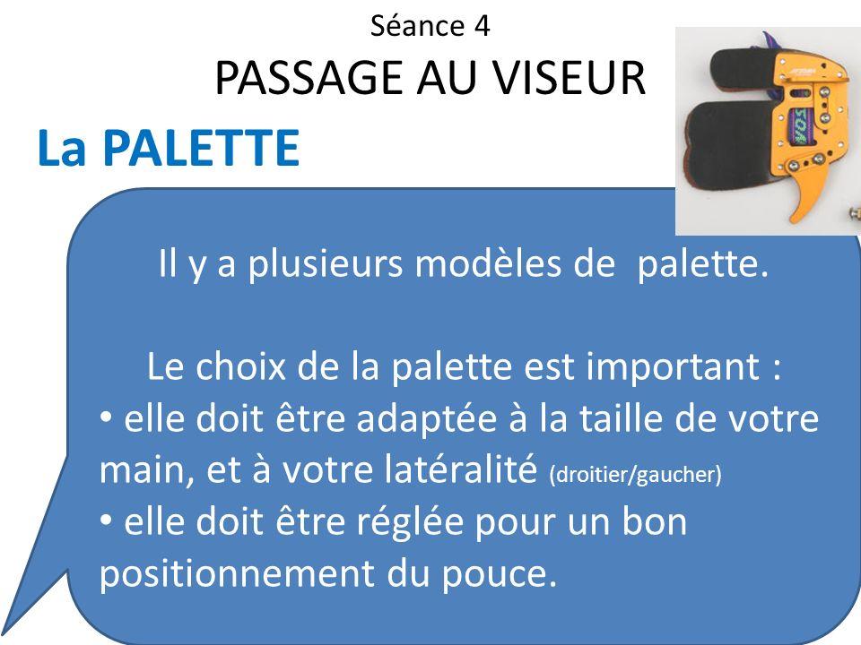 Séance 4 PASSAGE AU VISEUR La PALETTE Il y a plusieurs modèles de palette. Le choix de la palette est important : elle doit être adaptée à la taille d