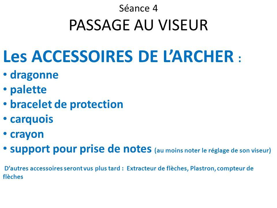 Séance 4 PASSAGE AU VISEUR Les ACCESSOIRES DE LARCHER : dragonne palette bracelet de protection carquois crayon support pour prise de notes (au moins