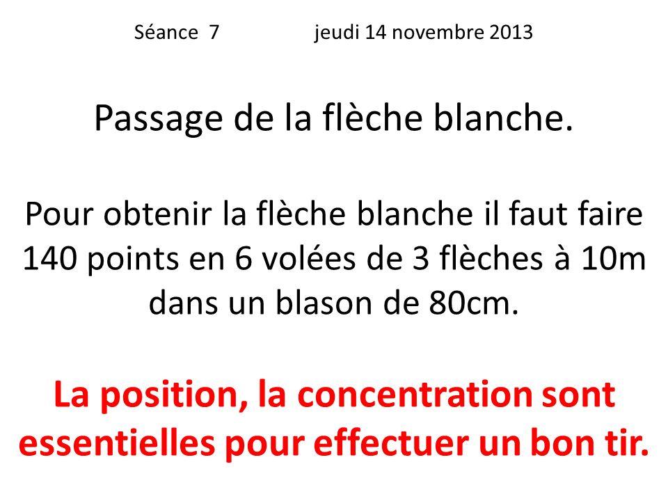 Séance 7 jeudi 14 novembre 2013 Passage de la flèche blanche. Pour obtenir la flèche blanche il faut faire 140 points en 6 volées de 3 flèches à 10m d
