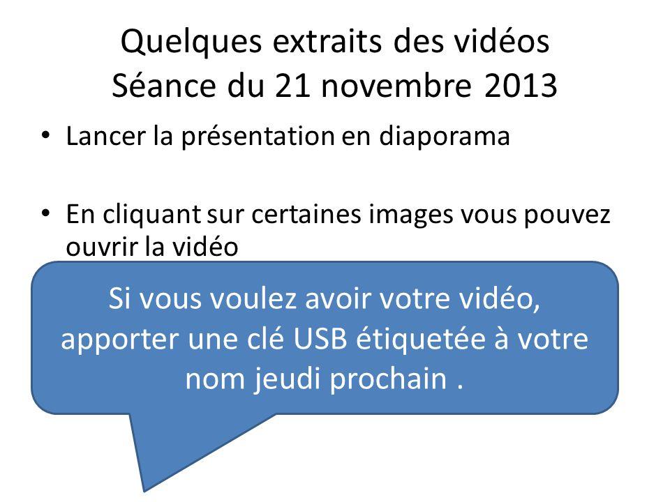 Quelques extraits des vidéos Séance du 21 novembre 2013 Lancer la présentation en diaporama En cliquant sur certaines images vous pouvez ouvrir la vid